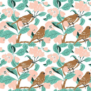 Finch and Apple Blossom