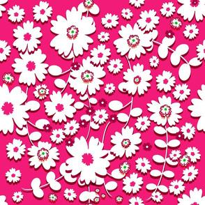 Classic Flowers (Vibrant Pink) 18inch repeat, David Rose Designs