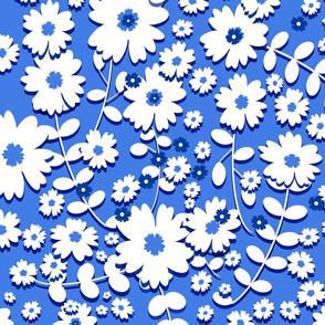 Classic Flowers - Medium (Blue and White) 20inch repeat, David Rose Designs