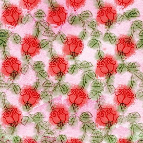 Pink Watercolor Winding Roses Pattern
