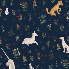 Unicorn and animals blue