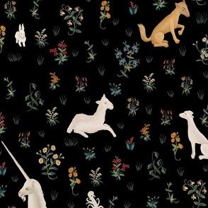 Unicorn and animals black