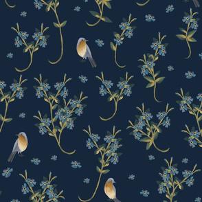 Bird spring- summer in medieval tapestries style