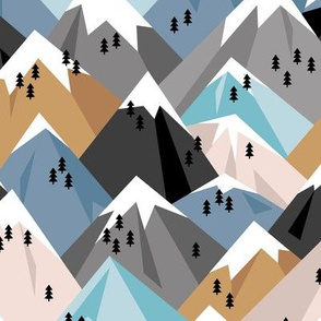 Abstract geometric winter snow topped mountains minimal climbing theme blue neutral boys