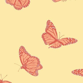 Peach Monarch Butterfly on Yellow
