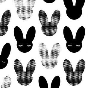 Minimal monochrome bunnies Scandinavian abstract neutral kids theme black and white