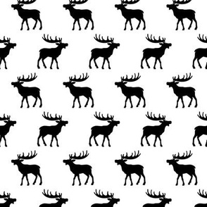Minimal moose woodland animals winter silhouette monochrome black and white