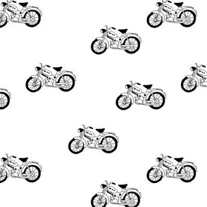 Minimal monochrome moterbike  design cool boys nursery black and white