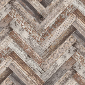 Vintage Wood Chevron Tiles Herringbone  Grey Brown