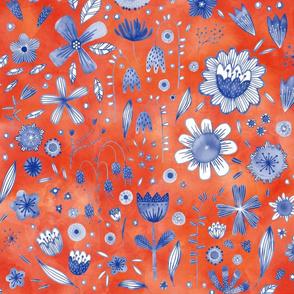 Indigo Watercolor Flowers on Coral