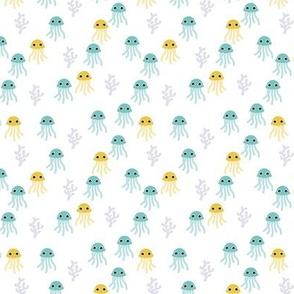 Cute little jellyfish deep sea swimwear print ocean love mint blue boys