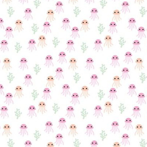 Cute little jellyfish deep sea swimwear print ocean love pink peach pastel girls