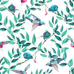 Blue Birds in Leaves