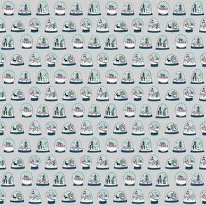 TINY - Snow globe winter christmas ornaments fabric pattern grey pink