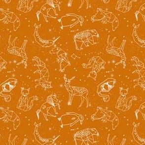 SMALL constellations // geometric animal nursery baby design cute constellations fabric - rust