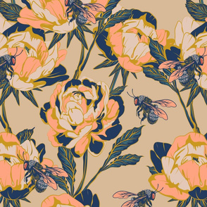 Peonies & Bees - large scale