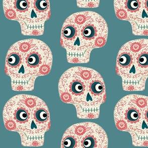 Mexican Sugar Skulls Teal