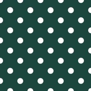 White Polka Dots on Forest Green - large