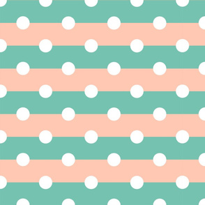 Pale Summer Stripes with Dots - Large