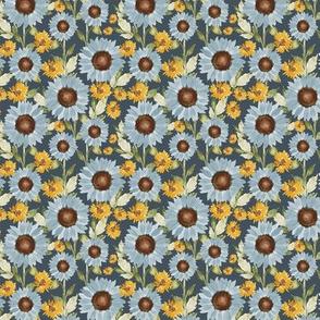 Sunflower Feilds in navy 3x3