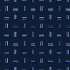 Indigo blue graphic abstract lines seamless pattern.