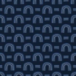 Indigo blue graphic half circle seamless pattern.