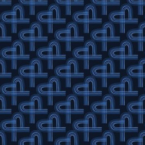 Indigo blue graphic abstract heart seamless pattern.