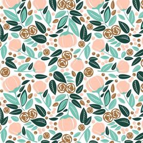 bronze  rose  spearmint forest floral mess on white