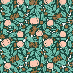 bronze  rose  spearmint forest floral mess on dark