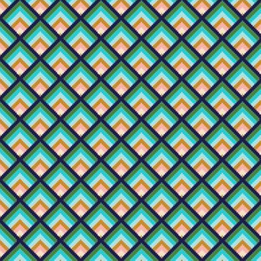 Deco Bargello* (Jackie Blue) || geometric diamonds chevron needlepoint sunrise sunset abstract aqua mustard living coral