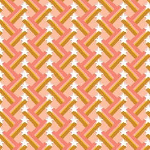 Waco Kid* (Peach Halves) || shooting stars geometric stripes zig zag 70s retro living coral mustard gold