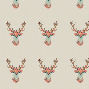 ikat chevron deer