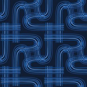 Indigo blue graphic abstract curve seamless pattern.