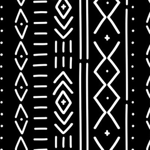 Modern Mudcloth Black on White - hand drawn mudcloth inspired wholecloth