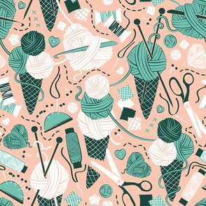 Small scale // All you knit is love // pink rosé background green forrest and spearmint sewing details