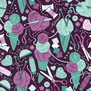 All you knit is love // small scale // dark purple background teal and violet sewing details
