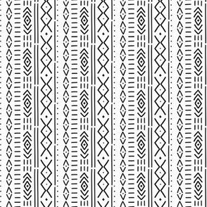 Mini Scale - B&W Modern Mudcloth - hand drawn mudcloth inspired wholecloth