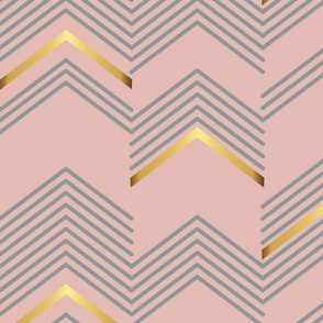 Pink & golden Chevron- Macro