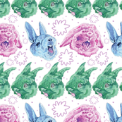 Yawning Rabbits Among the Flowers