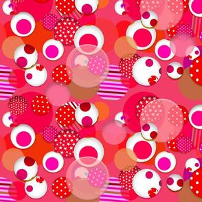 Fantasy Spheres (Red) 20inch repeat, David Rose Designs