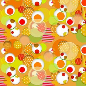 Fantasy Spheres (Tangerine) 20inch repeat, David Rose Designs