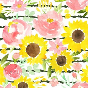 Sunflower Garden on dark green stripes
