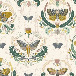 Botanical Moth Damask // Insects in the Garden // Moths, thistles, caterpillars, vines, leaves, flowers, florals, plants, scrolls, swirls, buds, blooms, antenna, antennae