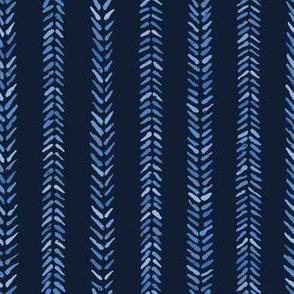 Indigo blue graphic herringbone stitch seamless pattern.