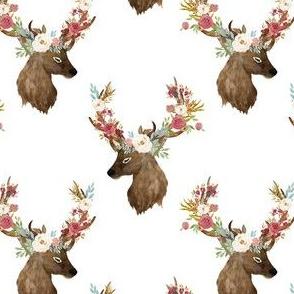 "4"" Autumn Floral Deer Print White"