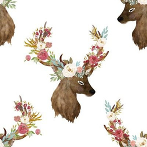 "8"" Autumn Floral Deer Print White"