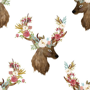 "18"" Autumn Floral Deer Print White"