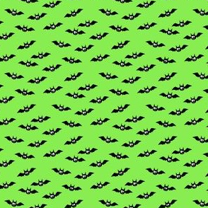 (micro scale) bats - cute halloween - green - LAD19BS