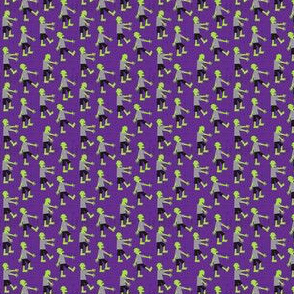 (micro scale) Zombie walk - halloween fabric - purple - LAD19BS