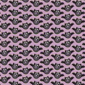 """(1/2"""" scale) bat - vampire - halloween donuts on purple and green stripes C19BS"""
